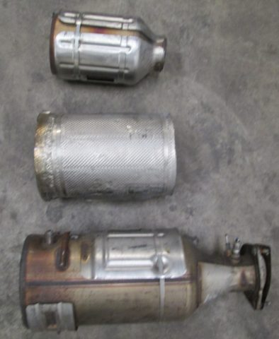 6.7 Powerstroke dpf system after being cut.
